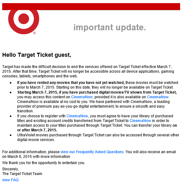 image of Target Ticket email announcement